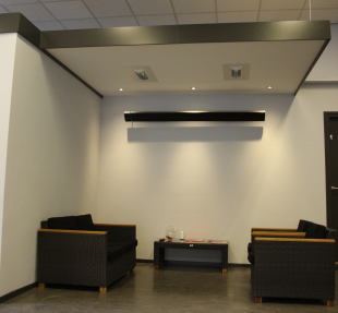 Office reception seating area heating with Solamagic D1