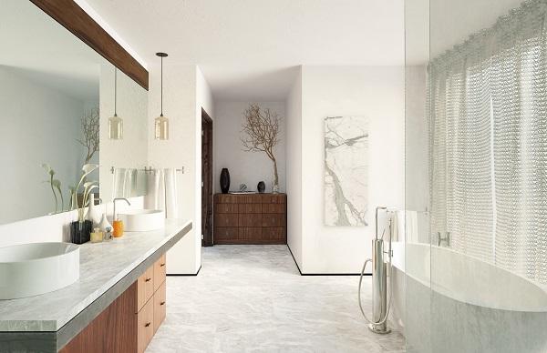 Luxury Bathroom heating with LAVA Ceramic 750W infrared panel