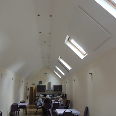 Small hall heating with ceiling mounted LAVA Basic-DM 1500W