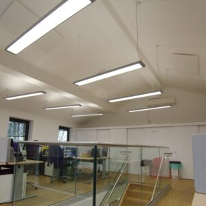 Energy efficient office heating with ceiling mounted  infrared panels