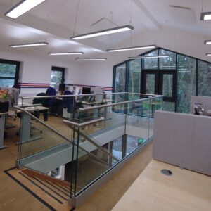 Open plan office with ceiling mounted infrared heating