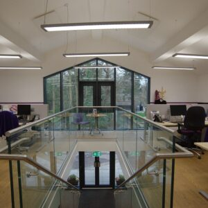 Infrared office heating using ceiling mounted  infrared panels