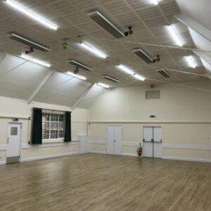 Main hall heating with ETHERMA EZ 2000 infrared heaters